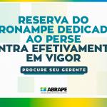 RESERVA DO PRONAMPE DEDICADA AO PERSE, ENTRA EFETIVAMENTE EM VIGOR